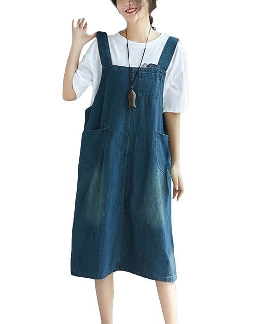 ZhuikunA Vestido Peto Vaquero Mujer Casuales Fiesta Bolsillos Tallas Grandes  Sin Mangas  Amazon.es  Ropa y accesorios df9ab67f33d