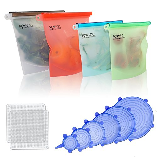 Eco-Loc Reusable Food Storage Kit, 4 BPA Free Food Storage Bags with 6 Silicone Stretch Lids and 2 Reusable Food Wraps, Eco-Friendly Convenience for Prep, Baby Food, Lunches or Sous Vide