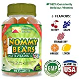 NOMMY BEARS Vegetarian, Gelatin-Free Multivitamin Gummies for Kids, Children, Men, Women •5 Delicious Flavors •11 Essentials •Gluten-Free •Halal/Kosher Friendly •Mommy Approved •Bear Shapes •90 Count