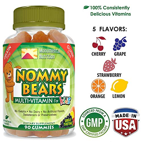 NOMMY BEARS Vegetarian, Gelatin-Free Multivitamin Gummies for Kids, Children, Men, Women •5 Delicious Flavors •14 Essentials •Gluten-Free •Halal/Kosher Friendly •Mommy Approved •Bear Shapes •90 Count (Nature's Best Promotion Code 2019)