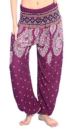 Boho Vib Women's Rayon Print Smocked Waist Boho Harem Yoga Pants (L/XL, Floral 2 Purple) (Purple Pants Harem)