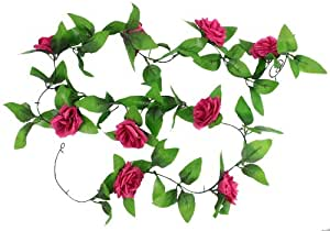 Umiwe(TM) Artificial Hanging Vine Silk Rose Flower Garland Home Garden Wall Decoration, Hot Pink With Umiwe Accessory