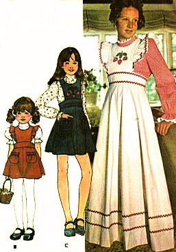 McCalls 4745 Girls Pinafore - Jumper and Blouse Sewing Pattern Transfers Vintage 1975