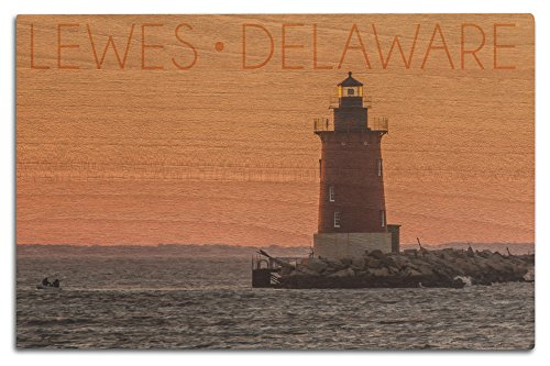 Lantern Press Lewes, Delaware - Cape Henlopen Lighthouse Sunset (12x18 Wood Wall Sign, Wall Decor Ready to Hang)