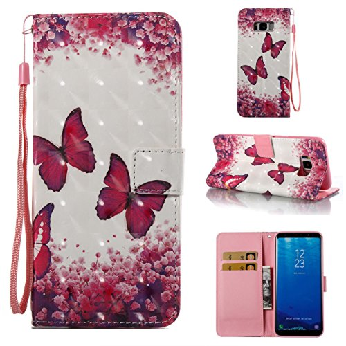 Galaxy S8 Plus Case,Durable PU Wallet Cover Kickstand Case Credit Card Holder Flip Folio Shell with Strap with Magnetic Closure Birthday Gift Christmas Halloween for Samsung Galaxy S8 Plus-Butterfly