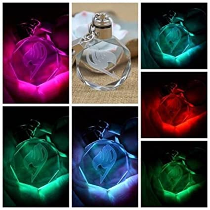 MinElect(TM) New Fairy Tail Anime Crystal LED Light Charm Key Chain Key Ring Cosplay 1PC