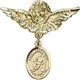 14kt Yellow Gold Baby Badge with St. Sebastian/Soccer Charm and Angel w/Wings Badge Pin 1 1/8 X 1 1/8 inches