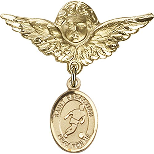 14kt Yellow Gold Baby Badge with St. Sebastian/Soccer Charm and Angel w/Wings Badge Pin 1 1/8 X 1 1/8 inches by Bonyak Jewelry Saint Medal Collection
