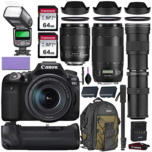 Canon EOS 90D DSLR Camera w/Canon 18-135mm is USM, Canon 70-300mm is II USM & Commander 420-800mm Telephoto Lens…