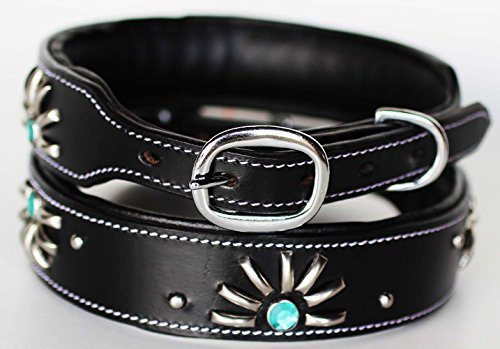 ProRider Large 21''- 25'' Rhinestone Dog Puppy Collar Crystal Cow Leather Western 6046