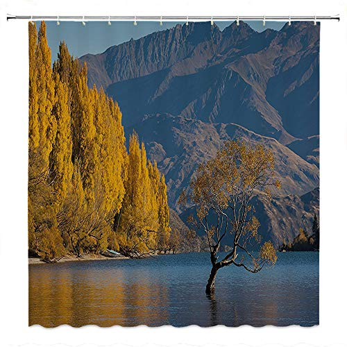 SATVSHOP Quality-Fabric-Shower-Curtain-PVC-Free-Odorless-Nature-Autumn-Season-on-The-Lake-by-Mountain-with-Faded-Leav-Idyllic-Scene-Marigold-Light-Blue-Umber.W60-x-L72-inch