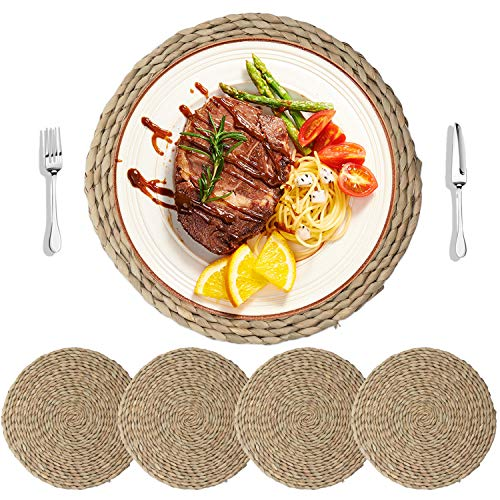 HomeDo 4Pcs Cattail Straw Round Woven Placemats for Dining Table, Rattan Table Mats, Natural Straw Mat Braided, Weave Placemats Handmade (Grass-4, 11.8''(30cm)) ...