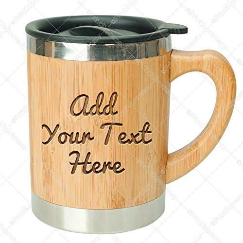 Coffee Mug Engraved - Personalized Express Custom Engraved in USA Stainless Steel Bamboo Coffee Mug Insulated with Lid BPA free eco-friendly Gift Box Ready