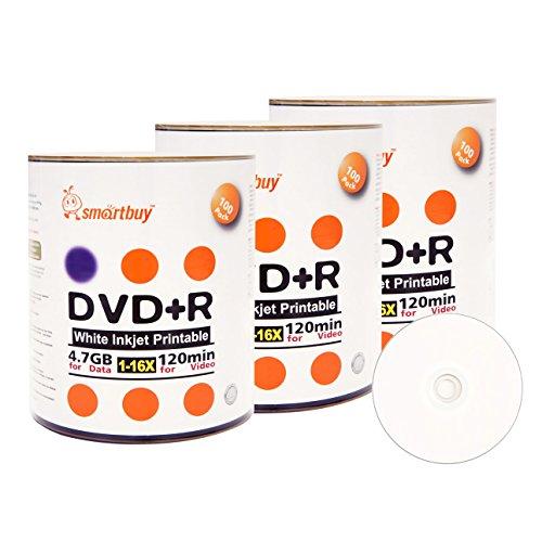 Smart Buy 300 Pack DVD+R 4.7gb 16x White Printable Inkjet Blank Media Record Disc, 300 Disc 300pk by Smart Buy