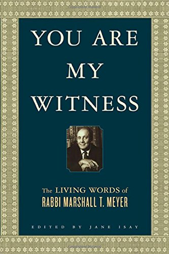 You Are My Witness  The Living Words Of Rabbi Marshall T. Meyer