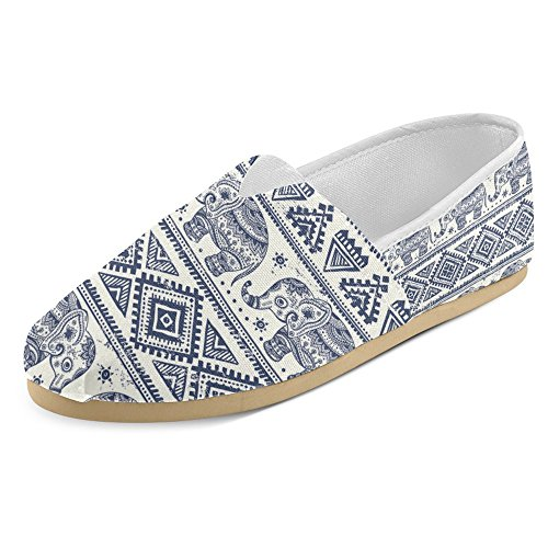InterestPrint Women's Loafers Classic Casual Canvas Slip on Fashion Shoes Sneakers Flats Elephant 1