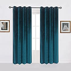 Super Soft Luxury Velvet Set of 2 Dark Green Blackout Energy Efficient Grommet Curtain Panel Drapes Peacock-blue 52Wx108L(2 panels)