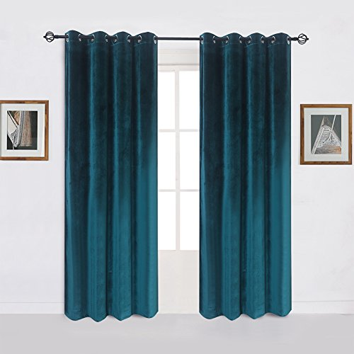 Super Soft Luxury Velvet Set of 2 Dark Green Blackout Energy Efficient Grommet Curtain Panel Drapes Peacock-blue 52Wx120L(2 panels)