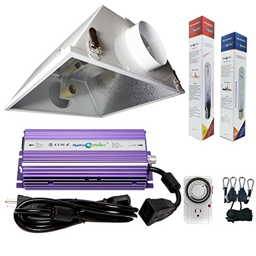 Grow System Light Hps (Hydroplanet™ 400W Horticulture Air Cooled Hood Set Grow Lights Reflector Digital Dimmable Ballast HPS MH System For Plant Grow Light Kit (400w))