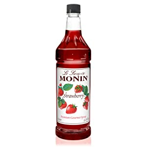 Monin - Strawberry Syrup, Mild and Sweet, Great for Cocktails and Teas, Gluten-Free, Non-GMO (1 Liter)