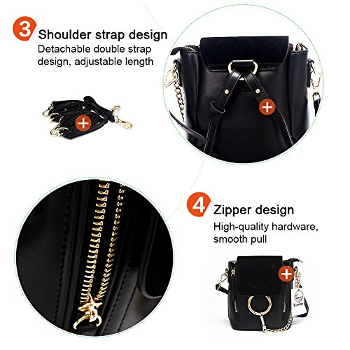 Yoome Polish Retro For Girls Circular Pouch Makeup Fashion Bag Chain Dull Women's Casual Ring cowhide Black fHq4rfF