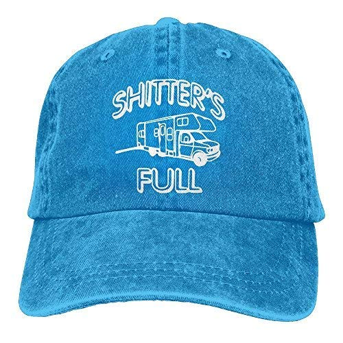 - Shitters Full Unisex Cotton Washed Denim Visor Caps Adjustable Natural RoyalBlue