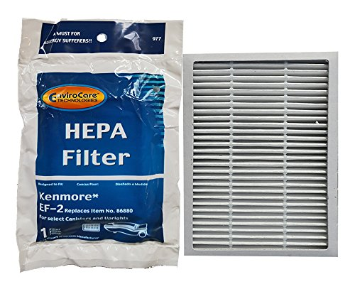 Kenmore Progressive EF 2 Pleated Vacuum HEPA Filter for 86880 Sears Vacuum Cleaners, C38KBRM, 20-86880, EF-2, 40320, 02080001000, 610445, MC-V194H, MCV194H, KER-1805, 748167711949, 471194 (2 Pack)