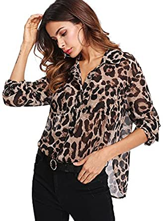 Floerns Women's Long Sleeve Button Down Sheer Leopard