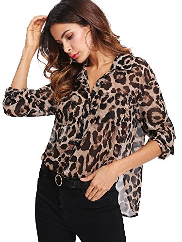 Floerns Women's Long Sleeve Button Down Sheer Leopard Print Chiffon Blouse Brown M