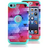 zebra print phone accessories - iPod Touch 6 Case, iPod Touch 5 Case, KAMII [Colorful Series] 3in1 Shockproof Full-Body Protective Hard PC+Soft Silicone Hybrid Hard Case Cover for Apple iPod Touch 5 6th Generation (Aqua)