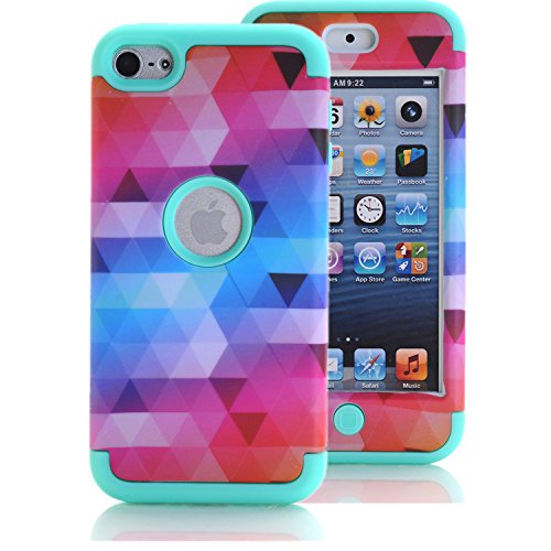 iPod Touch 6 Case, iPod Touch 5 Case, KAMII [Colorful Series] 3in1 Shockproof Full-Body Protective Hard PC+Soft Silicone Hybrid Hard Case Cover for Apple iPod Touch 5 6th Generation (Aqua) (Ipod 5 Jelly Silicone Cases compare prices)