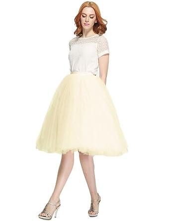17a28ae36d210 Besila - Gonna da donna stile vintage anni  50 in tulle Champagne L ...