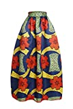 Annflat Womens African Floral Print Maxi Skirts A Line Long Skirts With Pocket(S-2XL)