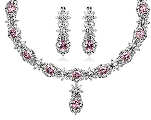 Epinki Silver Plated Jewelry Set, Cubic Zirconia Flower Crystal Pink Earring Necklace Sets For Women by Epinki