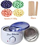 Youke Hair Removal Electric Wax Warmer Wax Melting Pot with Hard Wax Beans and Wiping Sticks, Depilatory Set