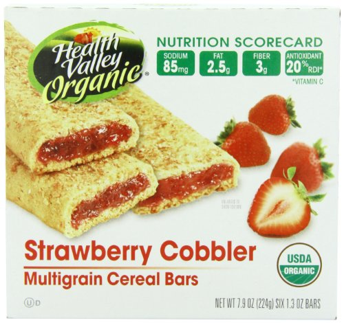 - Health Valley Organic Multigrain Cereal Bars, Strawberry Cobbler, 6 count,net weight 7.9 ounce,(Pack of 6)