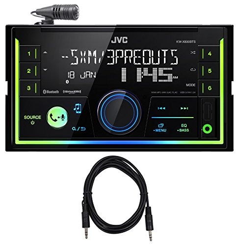 JVC KW-X830BTS 2-Din Digital Media Bluetooth Receiver, USB iphone SiriusXM Cable