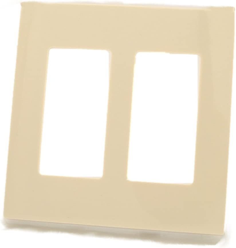 Leviton 80309-ST 2-Gang Decora Plus Wallplate Screwless Snap-On Mount, Light Almond