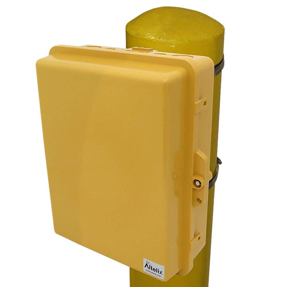 Altelix Yellow Pole Mount NEMA Enclosure (12'' x 8'' x 4'' Inside Space) Polycarbonate + ABS Weatherproof Outdoor High Visibility NEMA Box by Altelix (Image #1)