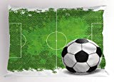 Ambesonne Soccer Pillow Sham, Grunge Worn Looking Pitch Pattern Football Six Yard Box Vintage Illustration, Decorative Standard King Size Printed Pillowcase, 36 X 20 Inches, Green Black White