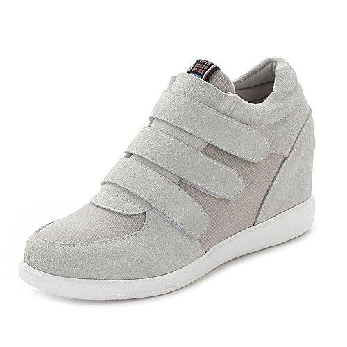 Jamron Women Classic Middle Hidden Wedge Heel Suede Upper Hook&Loop Fashion Sneakers Grey