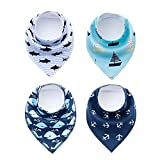 4 Pack Puppy Bandana Funny Navigation Style Small Pet Dog Cat Signature Birthday Bandana Triangle Scarf Bibs with Soft Cotton Material for Puppy Accessories