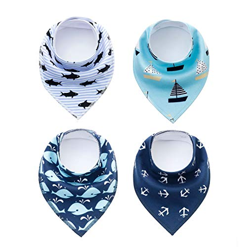 SKYCOOOOL 4 Pack Funny Navigation Style Pet Dog Cat Signature Puppy Bandana Triangle Scarf Bibs with Soft Cotton Material for Puppy Accessories