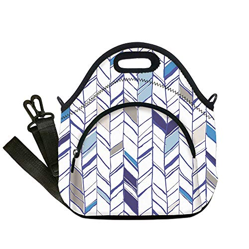 Toronto Blue Pearl (Insulated Lunch Bag,Neoprene Lunch Tote Bags,Navy,Tribal Zigzag Lines Pattern in Various Shades Geometric Boho Sketch Print,Sky Blue Grey Tan Pearl,for Adults and children)