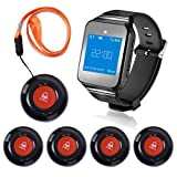 CallToU Wireless Caregiver Pager Smart Call Button Wrist Pager System, Nurse Calling Alert for Elderly/Patient/Disable for Home Care 1 Receiver Pager 5 Portable/Fixed Call Buttons 500+Feet