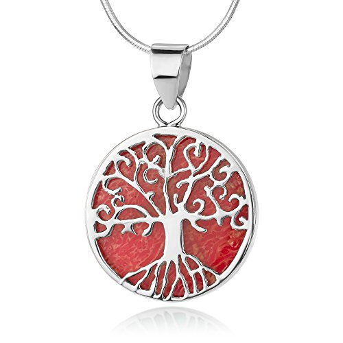 Sterling Silver Filigree Tree of Life Red Bamboo Sea Coral Round Pendant Necklace w/ Chain 18