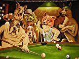 POOL PLAYING DOGS Oil Painting On Canvas Modern Wall Art Pictures For Home Decoration Wooden Framed (24X36 Inch, Framed)