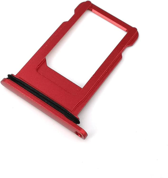 E-repair SIM Card Tray Holder with Rubber Waterproof Ring Replacement for iPhone 7 (4.7'') (Red)