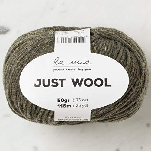 3 Ball (Pack) La Mia Just Wool, Total 5.28 Oz. 100% Recycled Wool, Each 1.76 Oz (50g) / 126 Yrds (116 m), 3 Light DK, Khaki Green - LT005