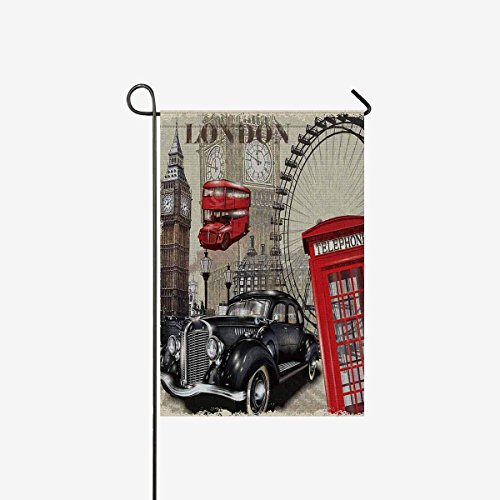Vintage London Big Ben Car and Red Telephone Booth Garden Fl